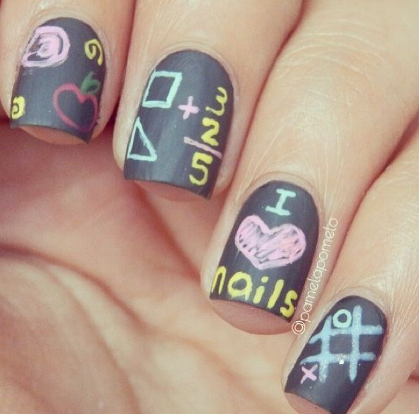 Back To School Nail Design - Chalkboard Nails! | Uñas | Pinterest ...