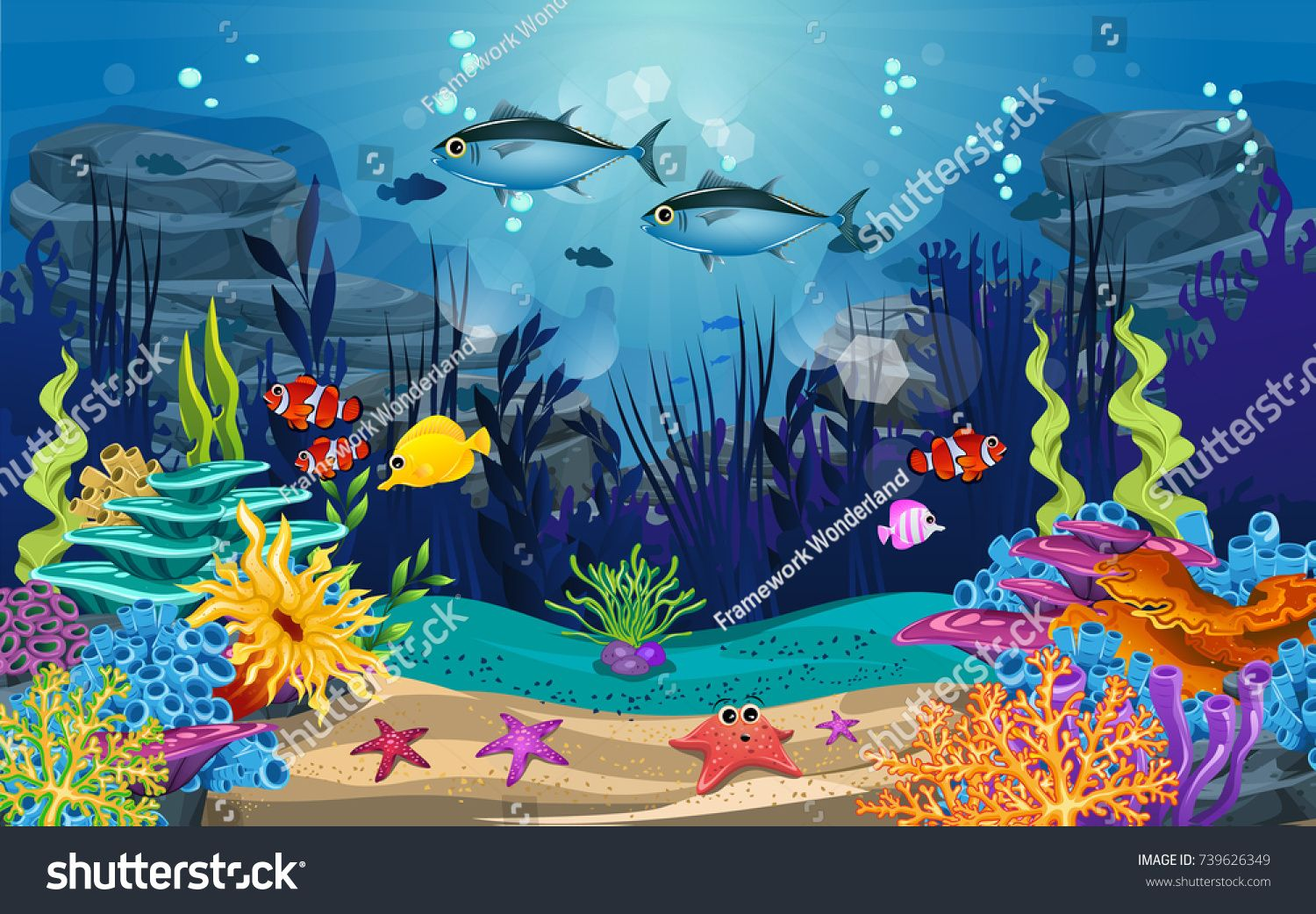Underwater Illustration And Life Fish Algae And Coral Reefs Are Beautiful And Colorful Schablonen Ocean underwater life fish corals algae