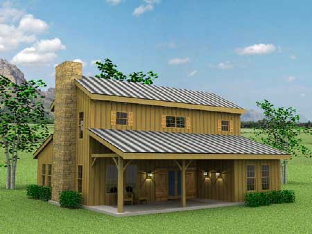 Barn style exterior with galvanized siding and red windows for American barn house plans