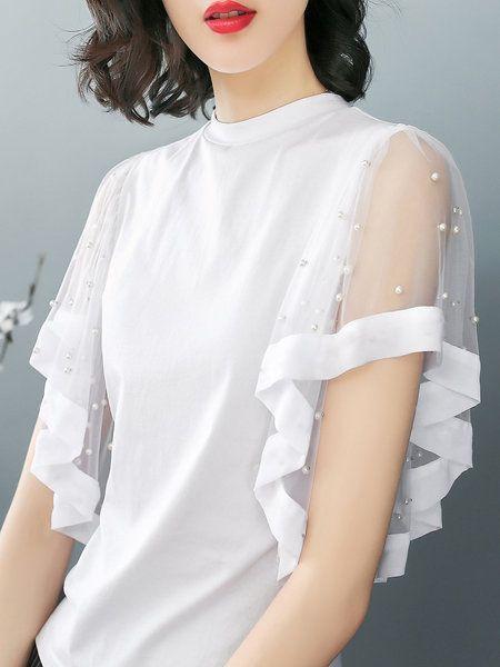 Photo of Kaufen Sie Tops für Frauen von XSSL bei Stylewe. Online Kaufen Stylewe White Top Crew … – Emilia