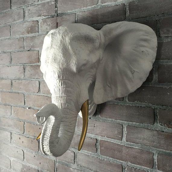 ANY COLOR XL Elephant Head Wall Bust Sculpture // African // Jungle / Safari Nursery Decor // Wall Decor // Faux Taxidermy // White Elephant