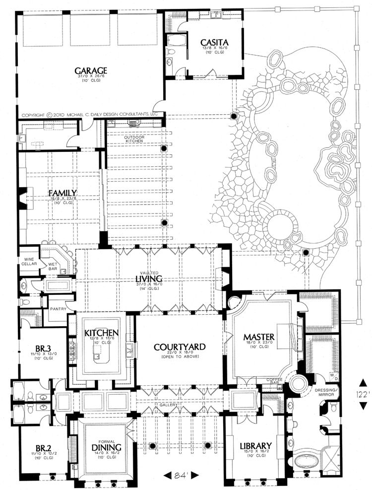 House plans with casitas and courtyards for Tuscan home plans with casitas