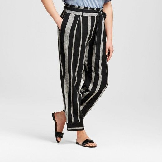 c2a4c3e11a79 Women s Plus Size Striped Wide Leg Paperbag Pants - Who What Wear ™   Target