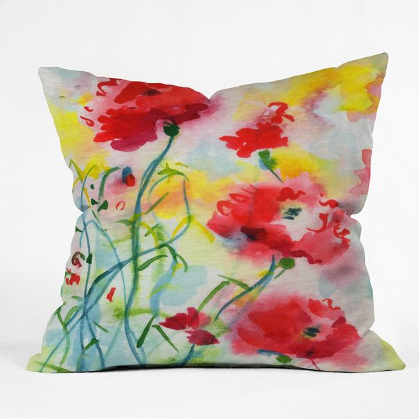 DENY Designs Ginette Fine Art If Poppies Could Only Speak Throw Pillow (91 BAM) ❤ liked on Polyvore featuring home, home decor, throw pillows, pillows, modern home decor, poppy home decor, poppy throw pillows, modern home accessories and modern throw pillows