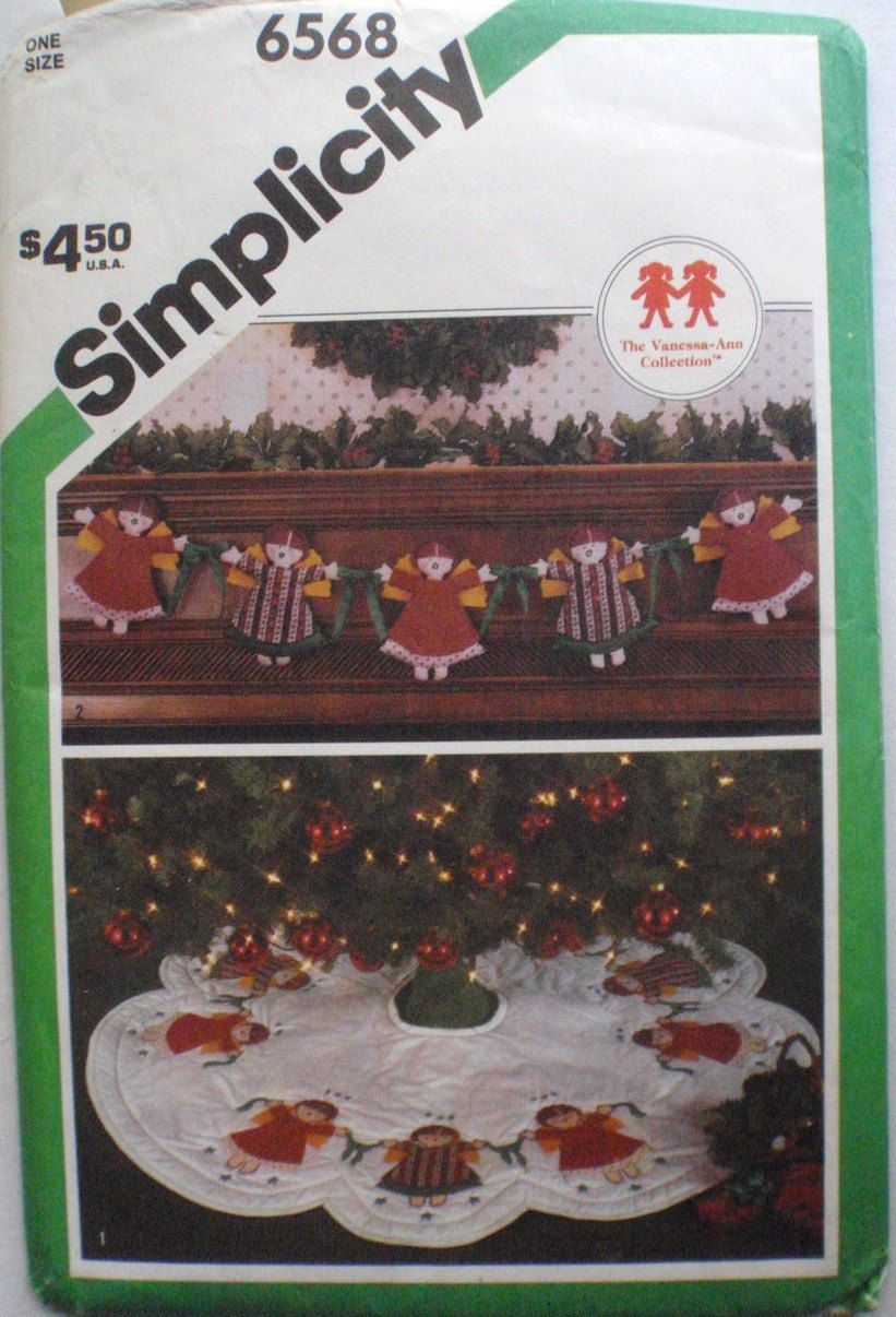 Simplicity 6568 Christmas Craft Pattern From the Vanessa-Ann Collection - Appliqued Tree Skirt and Angel Garland by Shelleyville on Etsy