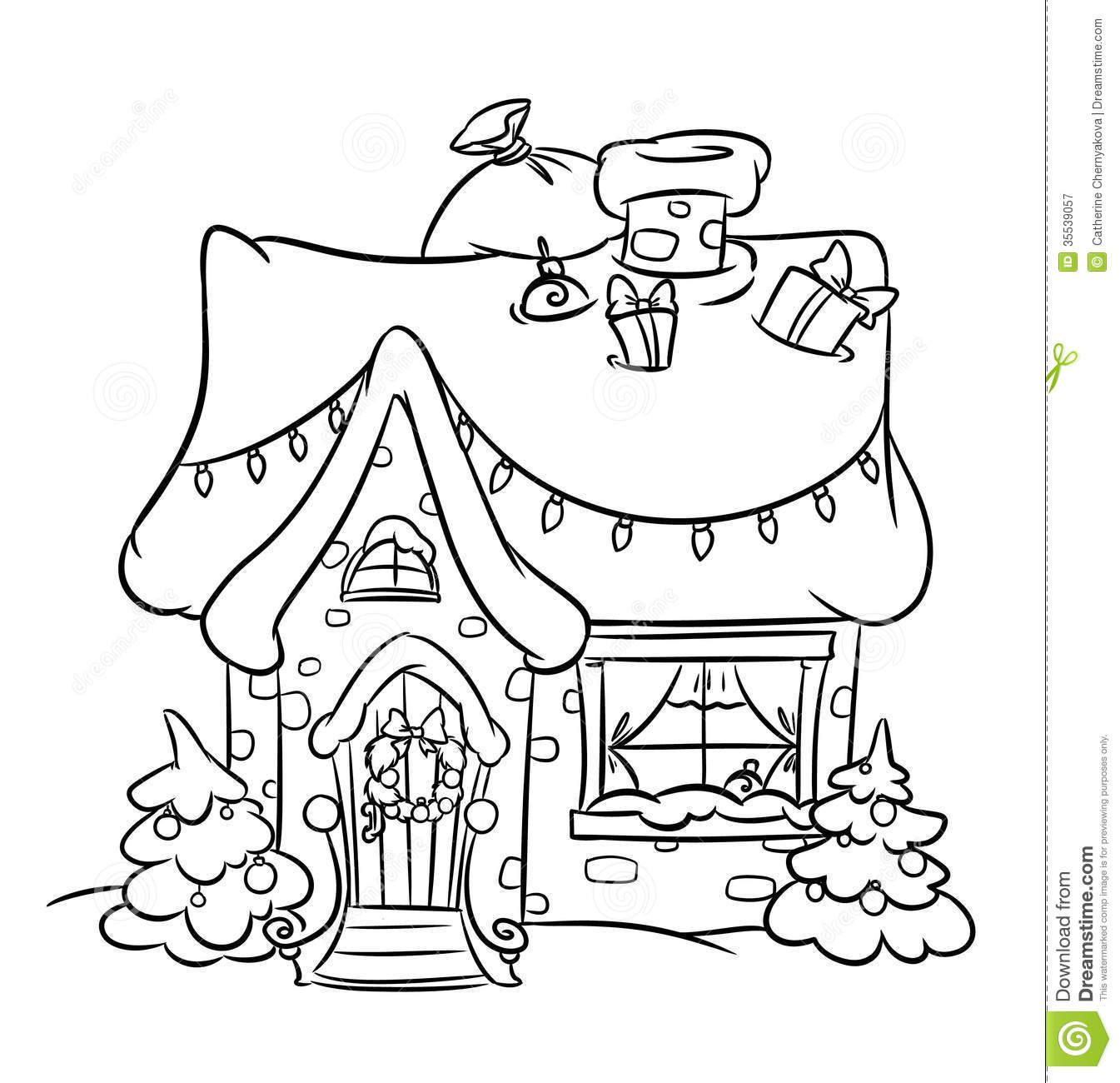 Free coloring pages houses and homes - Christmas Snow House Coloring Pages Illustration Cartoon