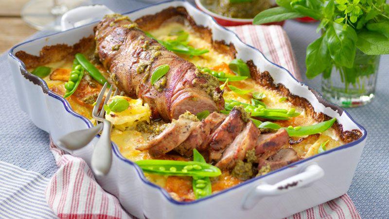 baconlindad fläskfile med potatisgratäng