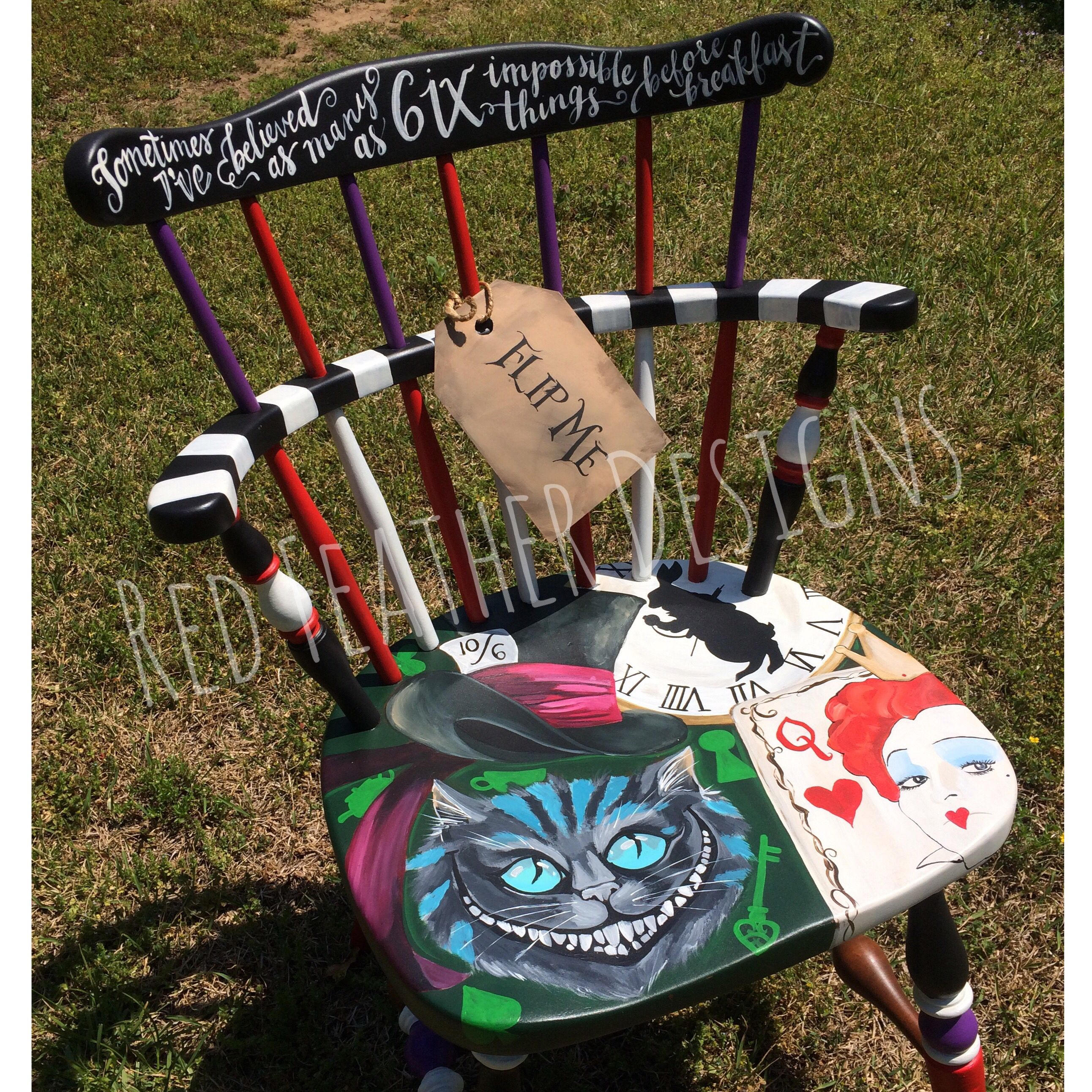 Alice In Wonderland Chair Mickey Mouse High Hand Painted