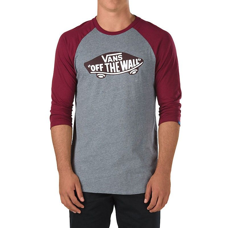Vans OTW Raglan Heather Grey Burgundy | Camisetas, Ropa de