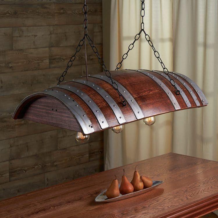 One third oak wine barrel chandelier aloadofball Gallery