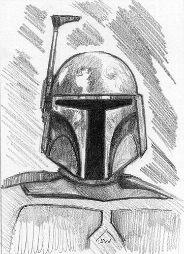 Boba fett star wars aceo sketch card by jeff ward - Dessin stars wars ...