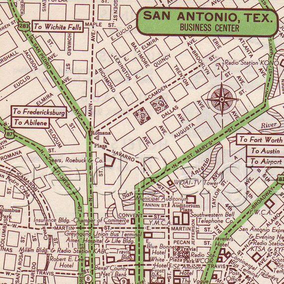 Bathroom Partitions San Antonio: San Antonio Texas Map Print 1951 US City Street Map By