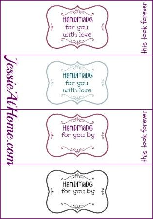 Handmade for you wrap labels PDFs by Jessie At Home | Crochet ...