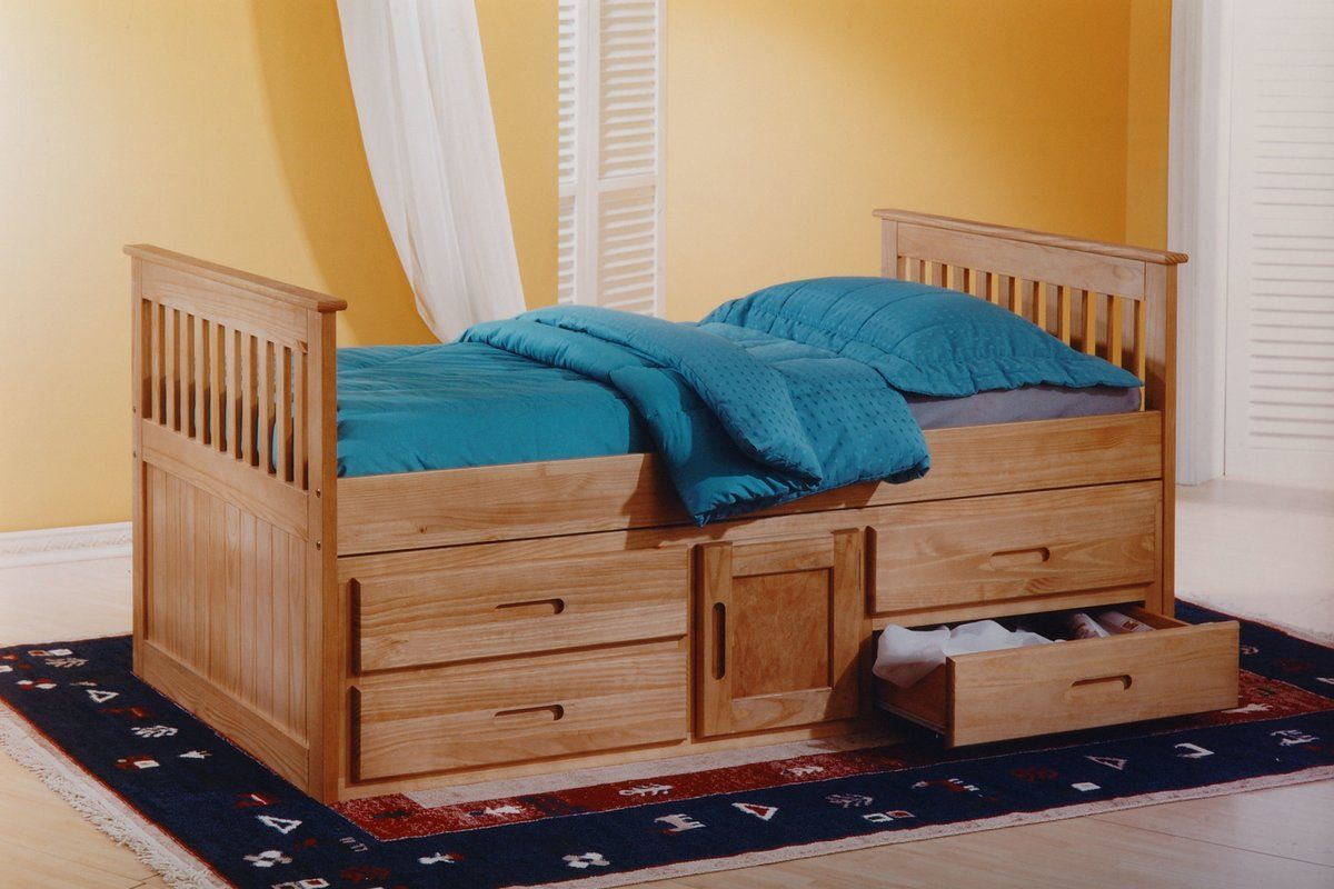 Captain Single Bed Frame with Drawers Wooden bed with