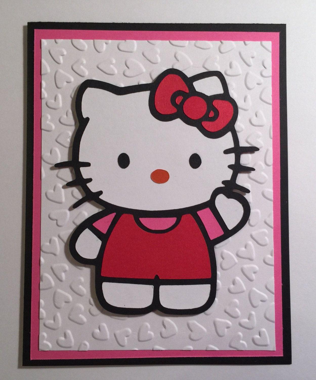 Handmade Hello Kitty Birthday Card Cat Kitty Hello Kitty Hello Kitty Birthday Kids Birthday Cards Hello Kitty