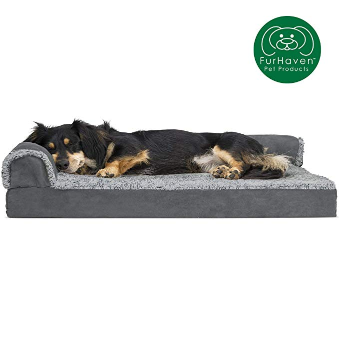 Amazon Com Furhaven Pet Dog Bed Deluxe Orthopedic Faux Fur