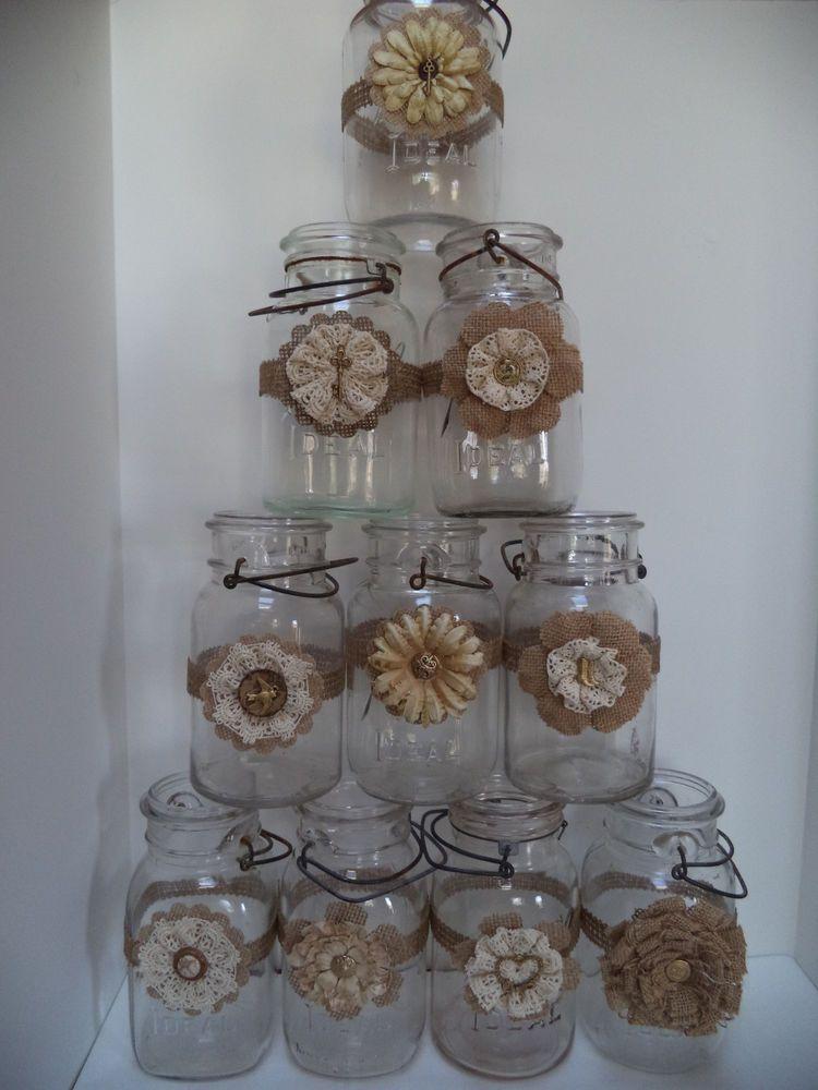 10 Mason Jar Primitive Gold Burlap Cream Crochet Wedding 50th Decorations J1