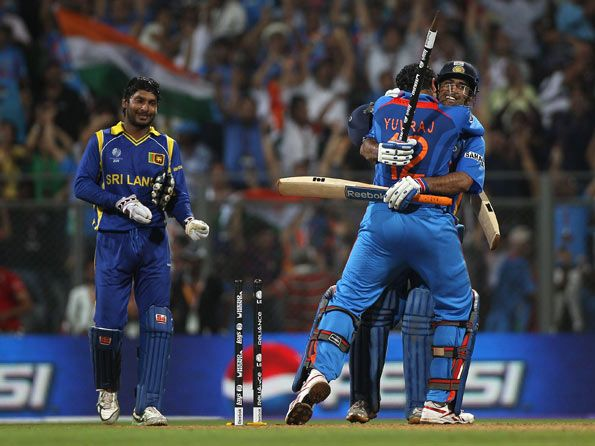 Ms Dhoni Celebrates With Yuvraj Singh After Hitting The World Cup Winning Shot C Getty Images Kumar Sangakkara Cricket In India 2011 Cricket World Cup