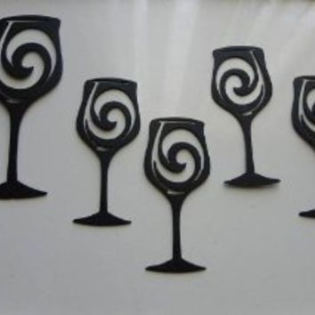 Wine Glasses Set Of 5 Metal Wall Art Wall Accent Home Kitchen Decor Kitchen Metal Wall Art Metal Wall Art Decor Black Metal Wall Art
