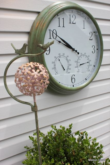 A Gardener S Retreat With Pier One Imports Outdoor Ideas Outdoor Clock Outdoor Gardens Wall Clock With Thermometer