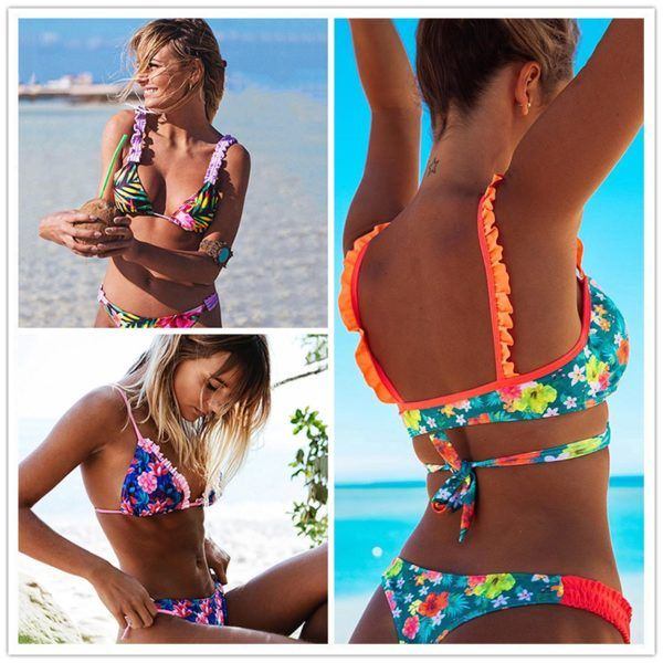 950366b53c 2019 New Ruffle Bikinis Women Swimsuit Cross Bandage Swimwear Push Up Bikini  Set Beach Bathing Suit Brazilian Biquni Print – YO Bikini