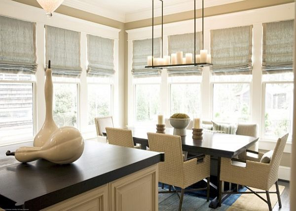 Cream Colored Dining Room With Roman Shades For Sunblocking Decoist