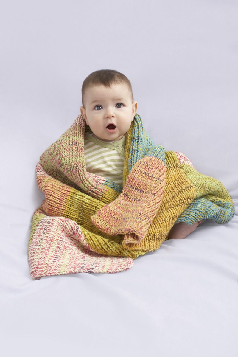 Knitting Patterns Baby Cotton Yarn : Sugar Hill Baby Throw in Lion Brand Cotton-Ease - 90077AD Knitting Patterns...