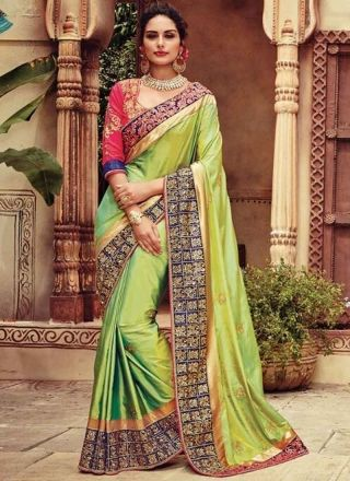 54e3cf6e02a Perot Green Lace Border Embroidery Work Stone Work Silk Party Wear Designer  Sarees http