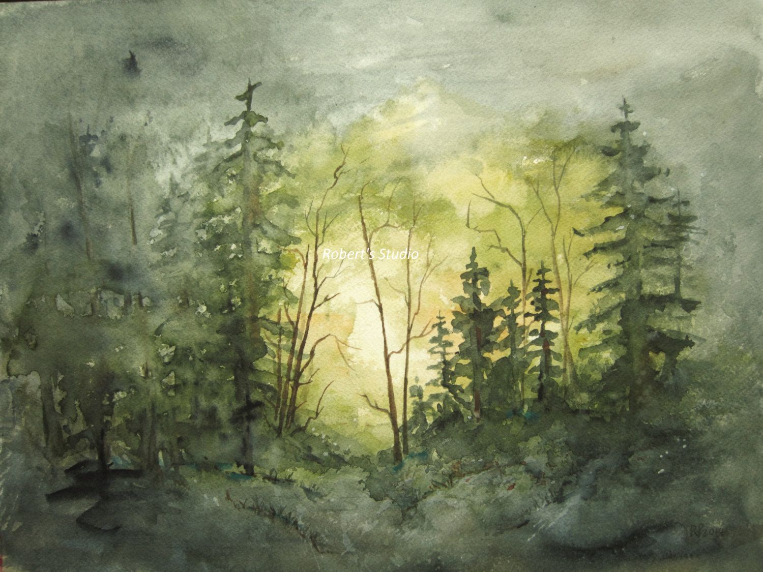 Watercolor landscape painting archival print forest for Watercolor painting images