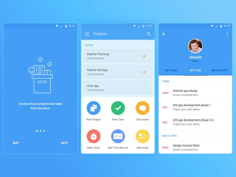 Material android application onboarding | Profile Images