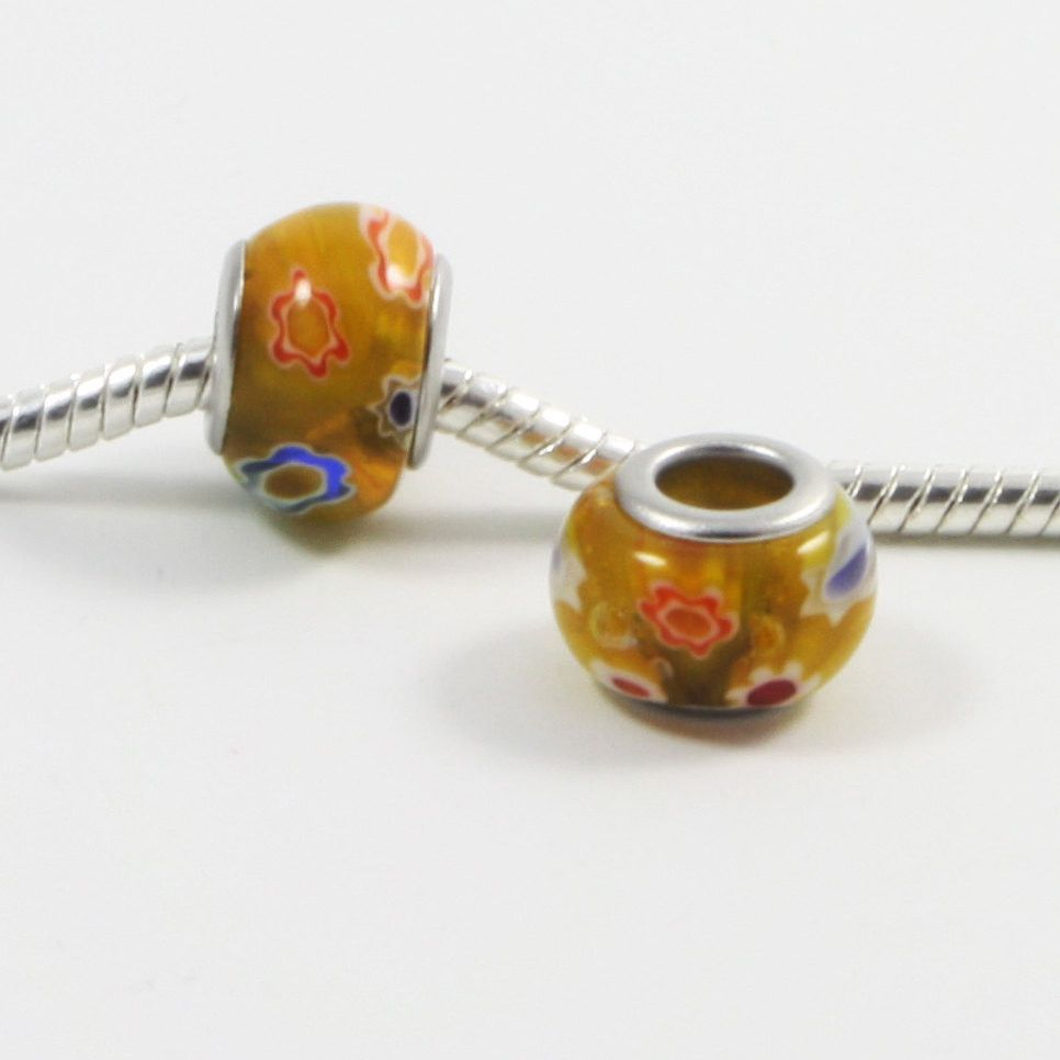 1 pc Yellow Flower Millefiori Lampwork European Style Beads Spacer Charms for Bracelet Necklace Lot E0159
