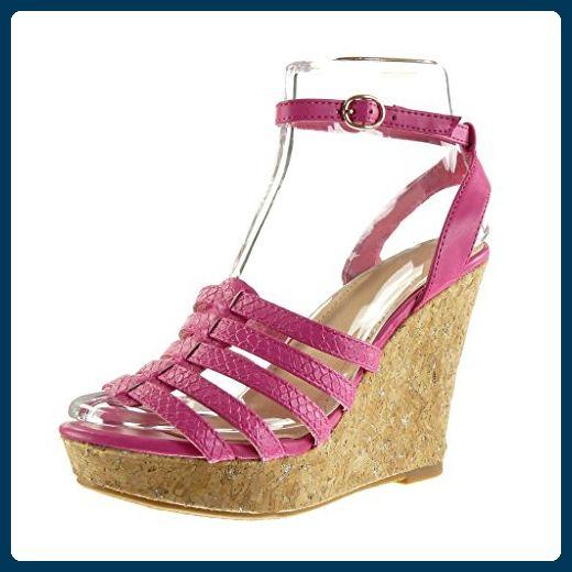 Angkorly Damen Schuhe Sandalen Mule - Plateauschuhe - Schlangenhaut - Multi-Zaum - Wooden Keilabsatz High Heel 11.5 cm - Fushia F-187 T 40 DjHyMj