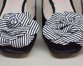 SAMPLE SALE Wedding Shoes -- Black Peeptoes Slingbacks with Black and White Stripe Flower Adornment -- Size 9.5 Only