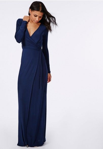 6df7f75bfa2 Robe portefeuille longue bleu marine - Robes - Robes longues - Missguided