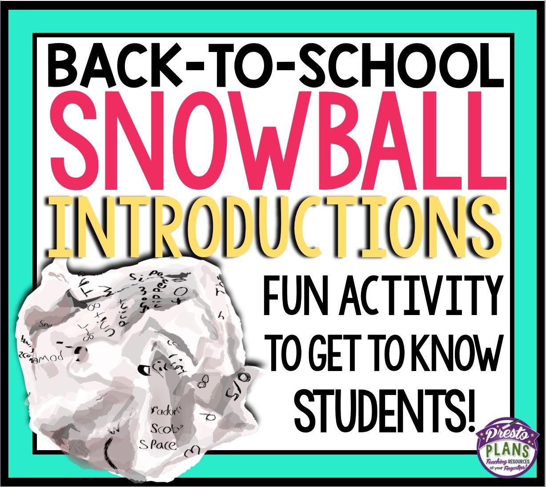 Snowball Back To School Icebreaker Activity
