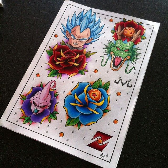 Dragon Ball Z Tattoo Flash Sheet 2 Z Tattoo Dragon Ball Tattoo Dbz Tattoo