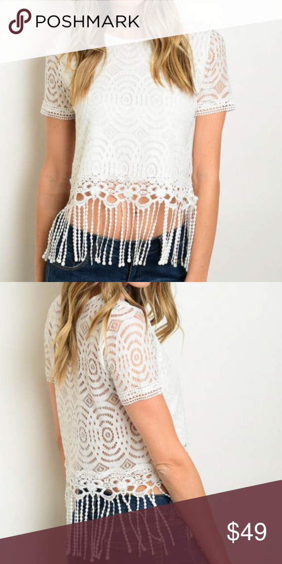 f69b9824c32a6 Just arrived! OFF WHITE FRINGE LACE TOP OFF WHITE FRINGE LACE TOP! Fabric  Content  95% RAYON 5% SPANDEX! Short sleeve lace crop top with fringe hem  detail.