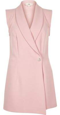 d8ebca053a River Island Womens Light pink tux sleeveless wrap playsuit