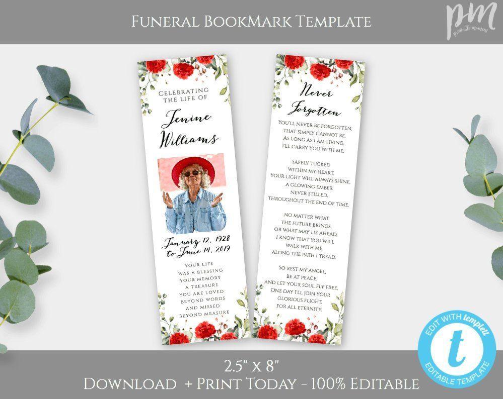 Red Floral Keepsake Bookmark Template For Funeral Celebration Of