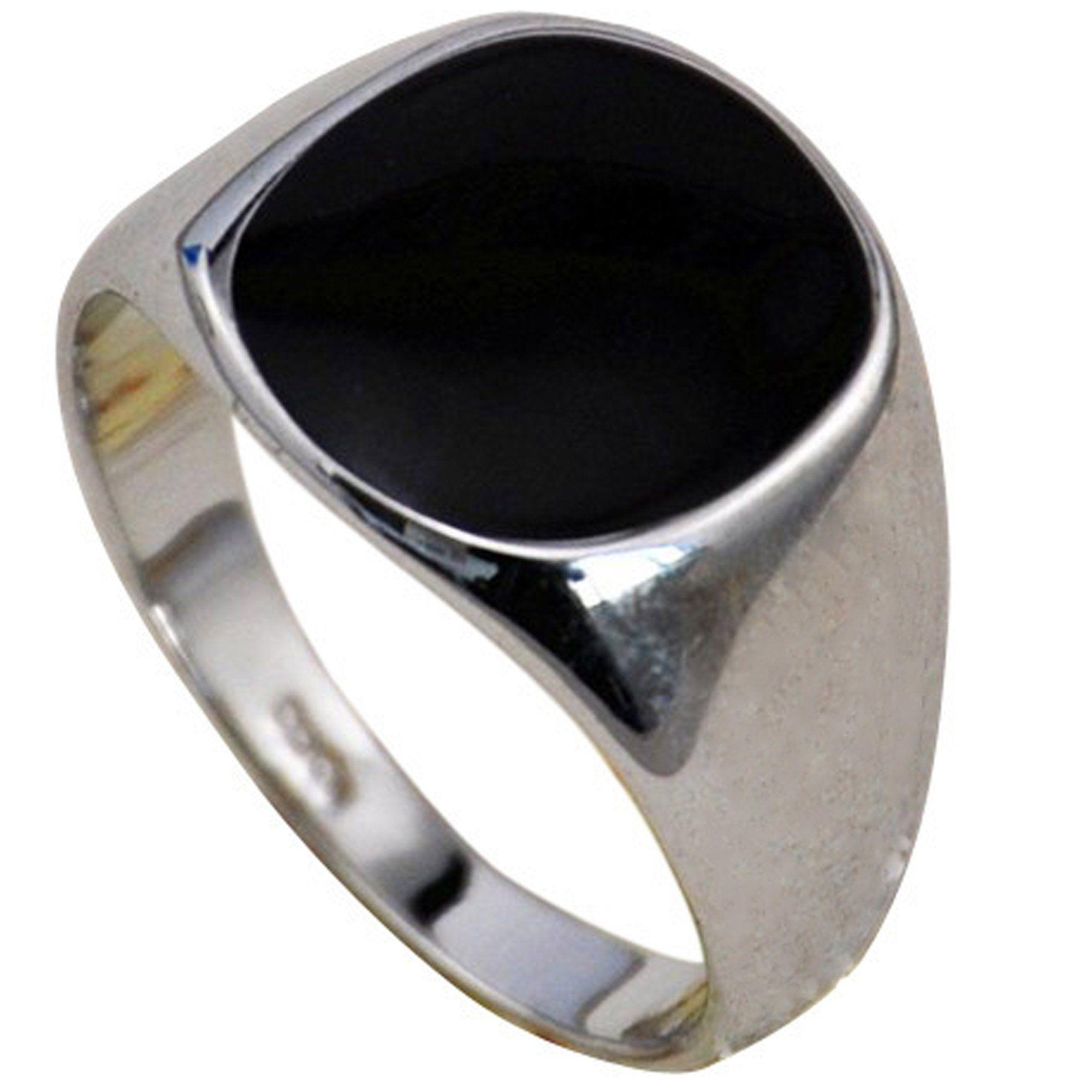 Genuine Jet Black Onyx  Rhodium Plated Mens CZ Ring