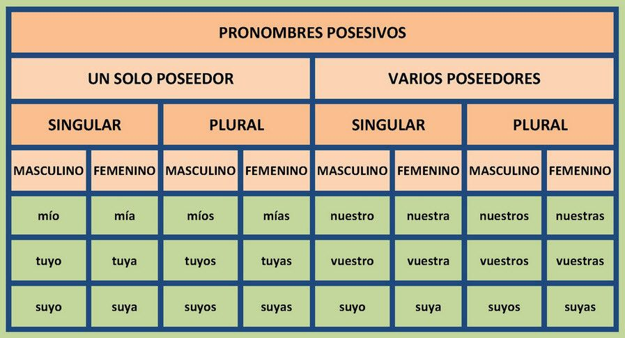 Cuadro Con Los Pronombres Posesivos Pronombre Posesivo Posesivo Lengua Y Literatura