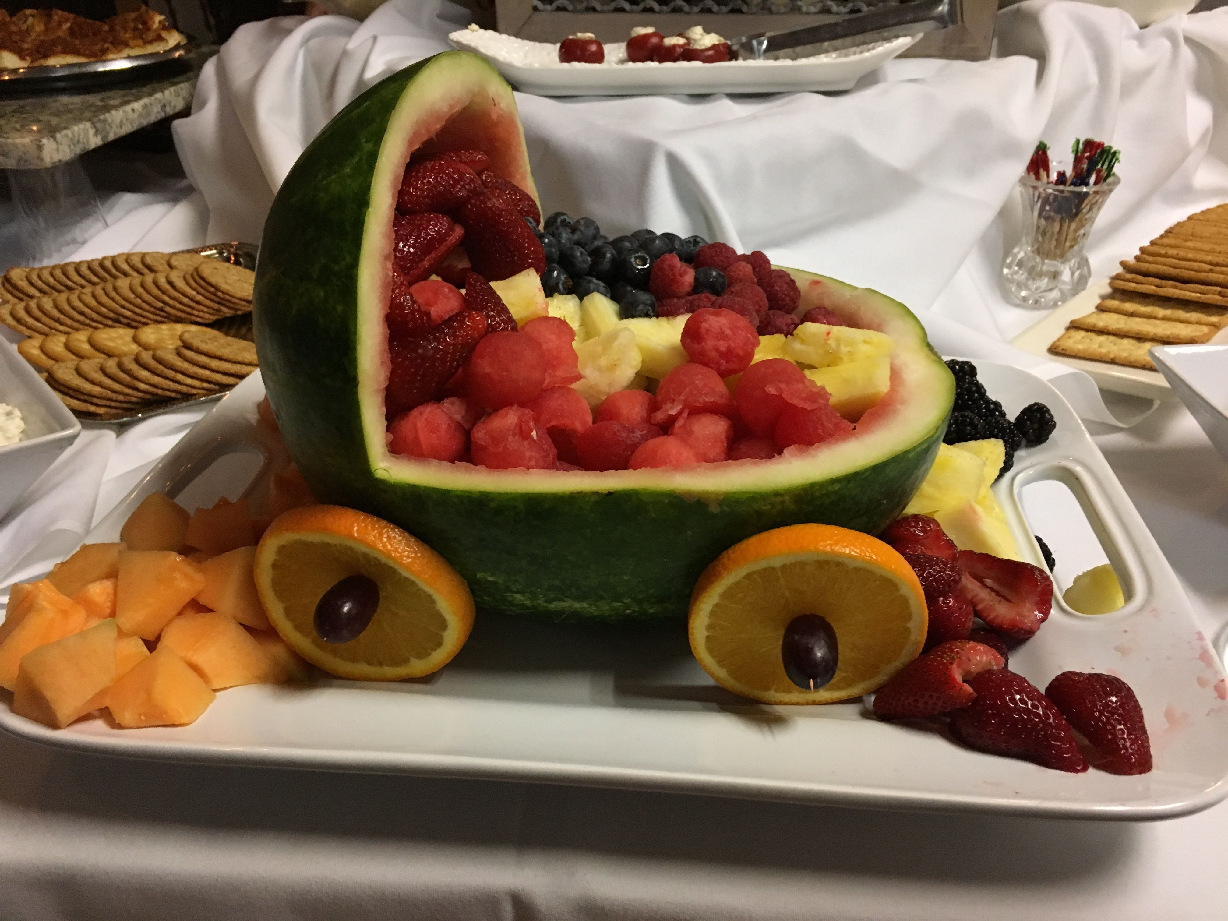 Baby Shower Catering Decoration Watermelon Baby Carriage Fruit Salad