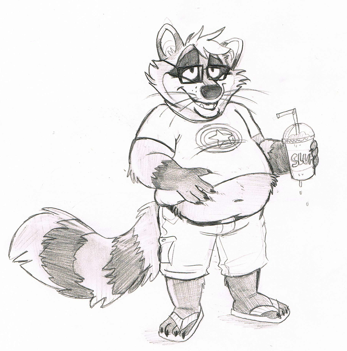 Slurpee weather - by Raaynee Sketch commission for Louis_Raccoon