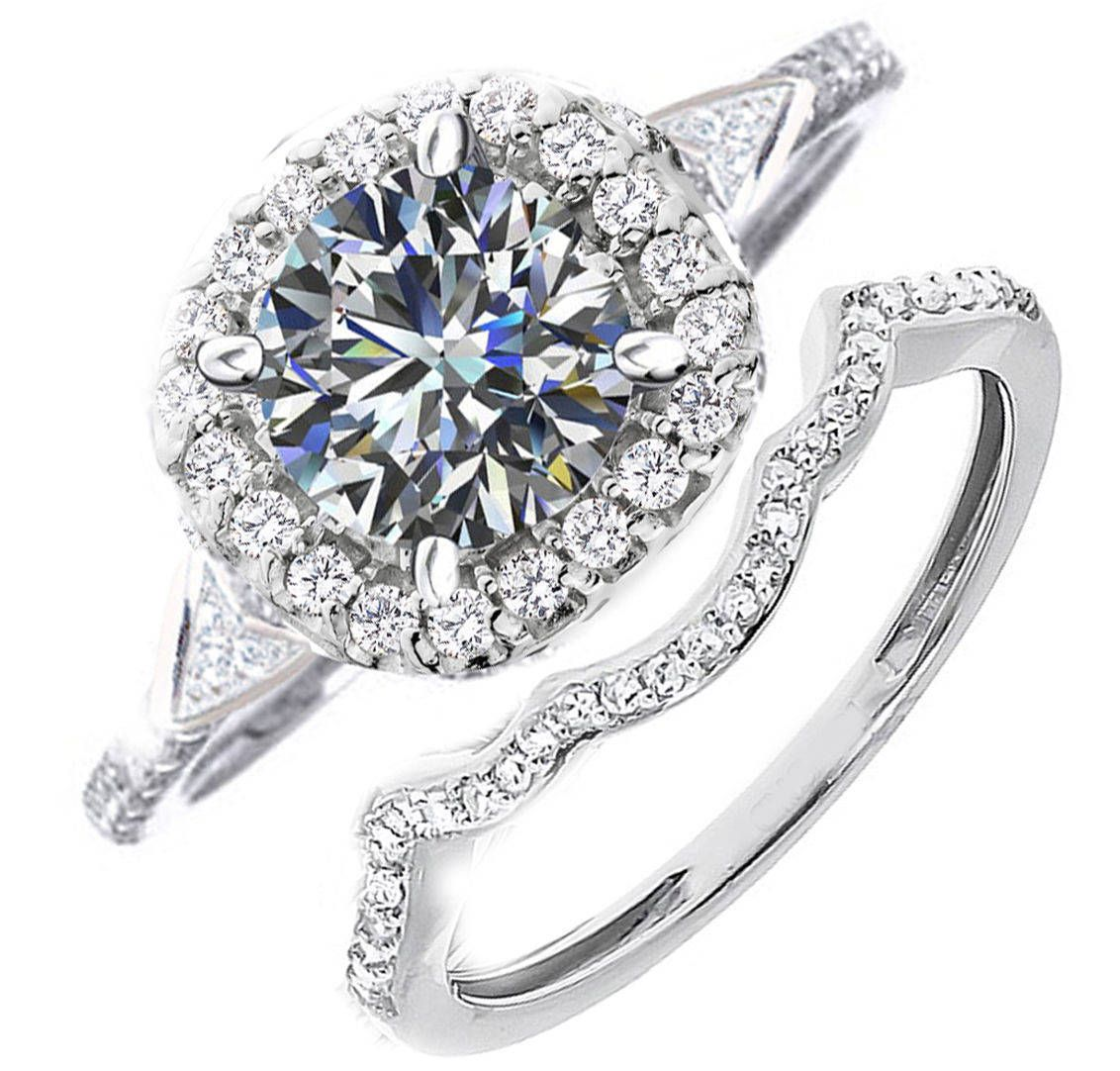 Ct diamond engagement and wedding ring set size by