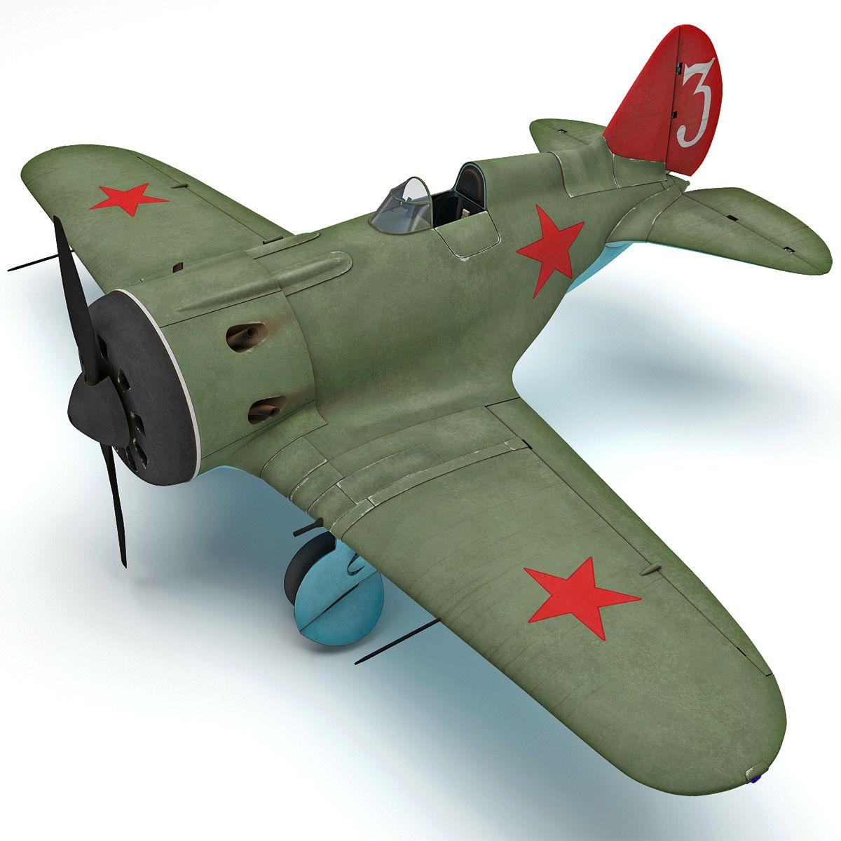 Polikarpov I 16 2 Rigged 3D Model - 3D Model