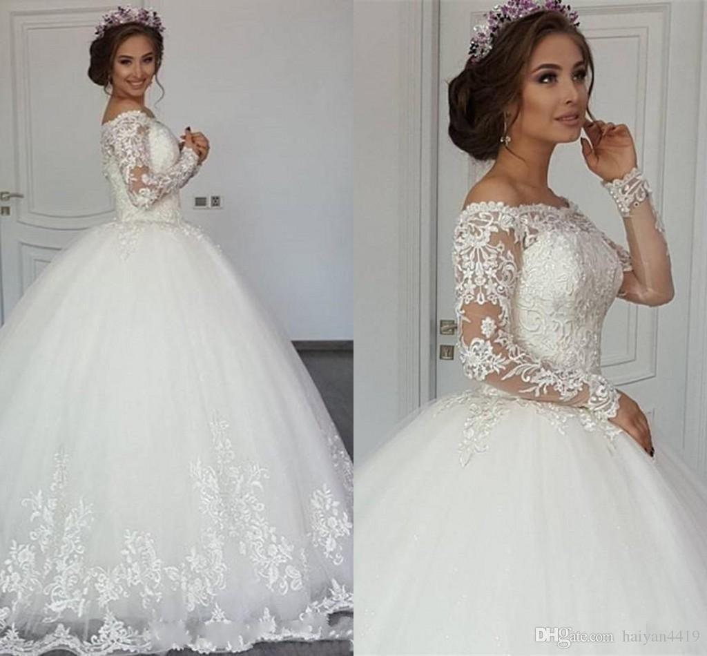 2017 new sexy arabic long sleeves ball gown wedding for Off the shoulder ball gown wedding dress