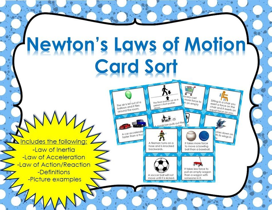 Newtons Laws Of Motion Card Sort Pinterest Activities Middle