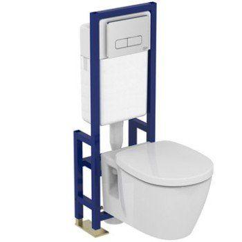 Pack WC suspendu bâti universel, IDEAL STANDARD Idealsoft sans bride - meuble pour wc suspendu leroy merlin