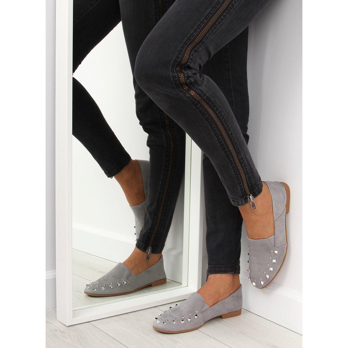 Mokasyny Lordsy Z Cwiekami Szare 1415 Grey Womens Sneakers Sneakers Blue Timeless Shoes