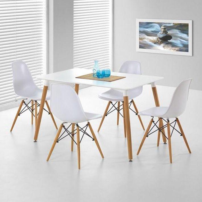 Table Salle A Manger Blanche Et Bois: Lot 4 Chaises Blanches Design Pieds Bois Stilys 339